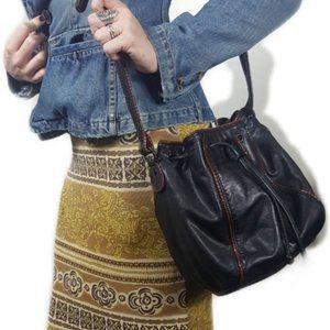 Vintage ETIENNE AIGNER Black Leather Bucket Bag